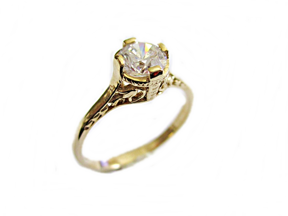 Size 12- Large Size 14K Gold Engagement Ring