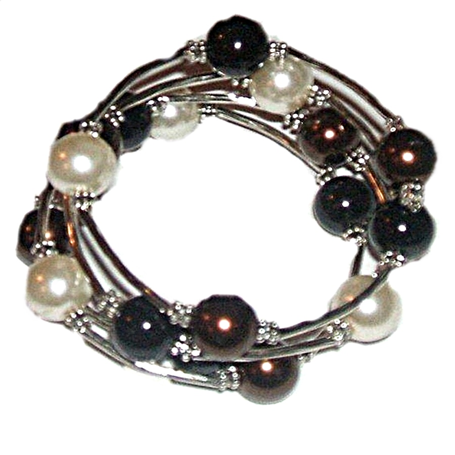 Black, White, Bronze Large Size Bracelet