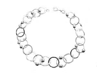 Circle and Bead Silver Plus Size Bracelet Silver