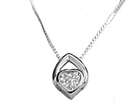 Cz Heart in Silver Long Necklace