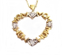 Mom Heart Necklace Gold Plated