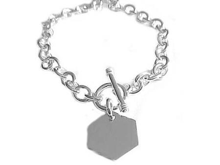 Large Size Bracelet Silver Hexagon 8, 9, 10 Inch
