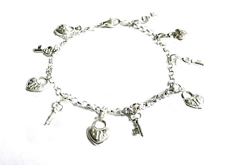 Lock and Keys Plus Size Bracelet 7 to 10 Inch