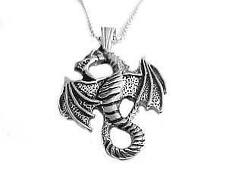 Men's Dragon Necklace with Steel Chain