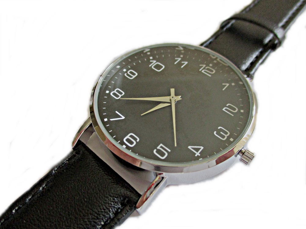 Men's Black Strap Long Watch to 9 Inch