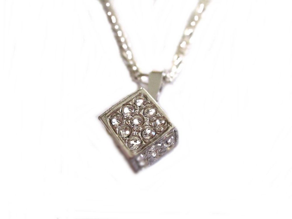 Italian Cz Cube Plus Size Necklace