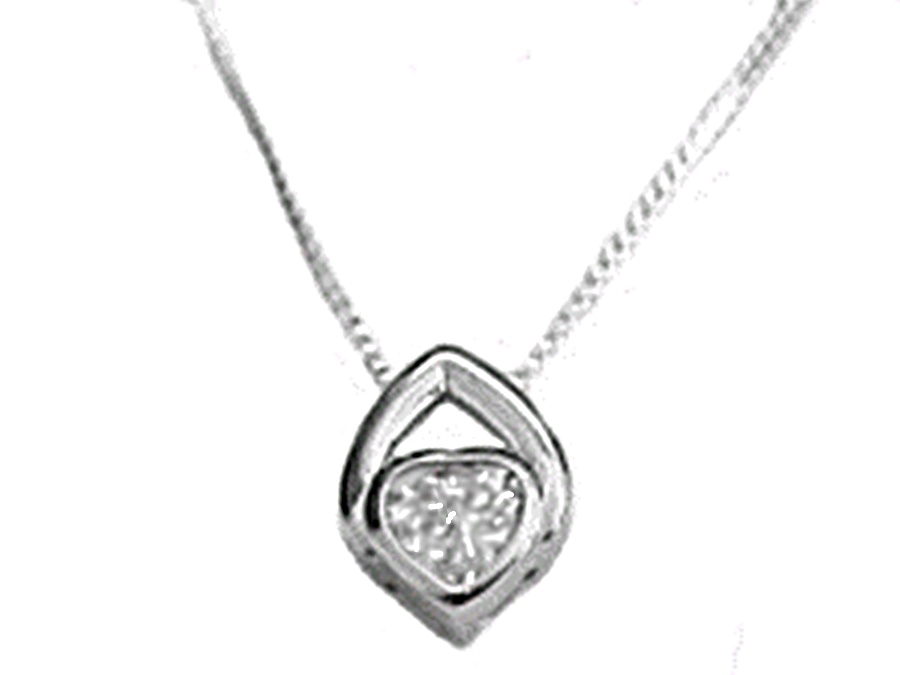 Cz Heart Sterling Silver Long Necklace