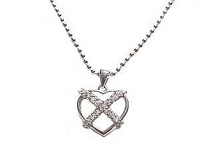 Cz Open Heart Plus Size Necklace Silver