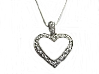 Cz Heart Long Necklace Silver