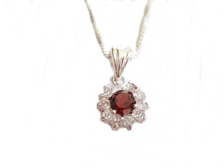 Long Necklace Garnet and Cz