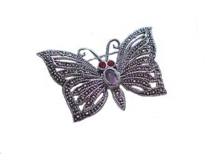 Butterfly Sterling Silver Pin Garnet and Marcasite