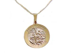 14k Gold Saint Michael Medal Necklace
