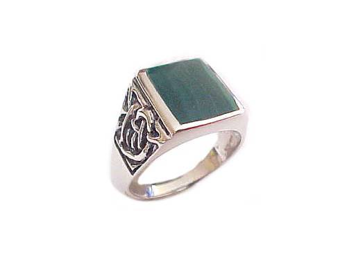 Men's Malachite Large Size Ring Silver