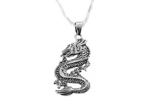 Men's Silver Dragon and Chain