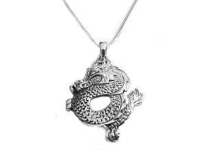 Dragon Necklace Men's Sterling Silver