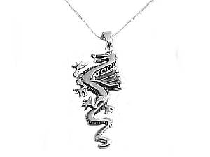 Men's Sterling Silver Dragon Necklace