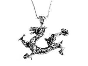Men's Dragon Necklace Steel Dragon