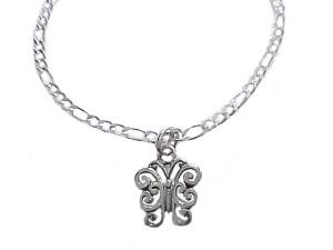 Butterfly Long Ankle Bracelet Silver