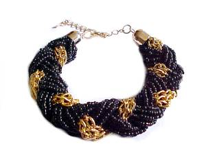 Plus Size Bracelet Black and Gold