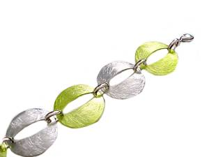 Plus Size Bracelet Silver and Green 8, 9, 10 Inch