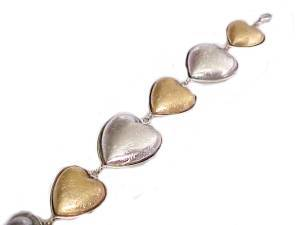 Hearts Plus Size Bracelet Gold and Silver 8, 9, 10 Inch