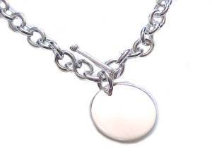 Round Disk Plus Size Bracelet Sterling Silver