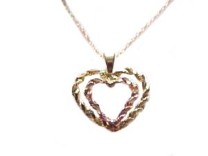 Double Heart 14k Gold Heart Necklace