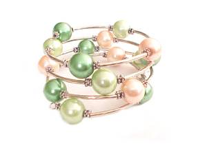 Peach and Green Spiral Plus Size Bracelet