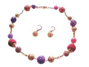 Plus Size Necklace and Earrings Color Beads