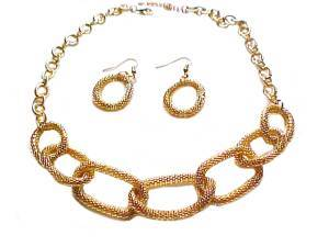 Plus Size Necklace and Earrings Gold Mesh