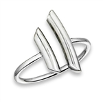 Plus Size Ring Silver Curved Open Bars