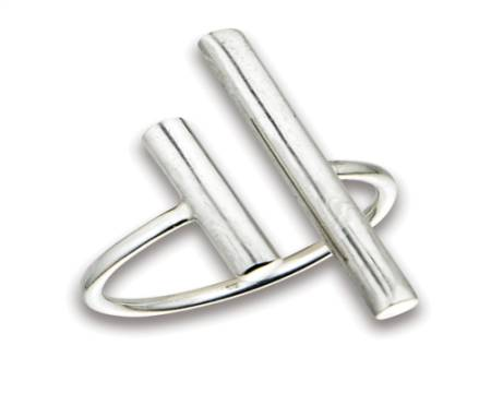 Plus Size Ring Silver Thick Open Bars