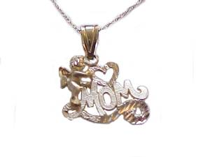 Mom with Cherub 14k Gold Necklace