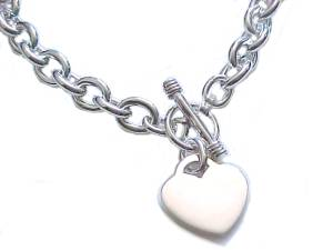 Plus Size Necklace Silver Heart Tag Toggle