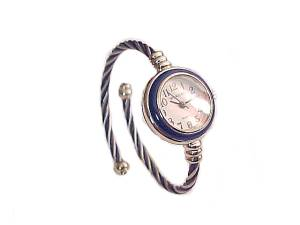 Navy and Silver Cable Wrap Plus Size Watch