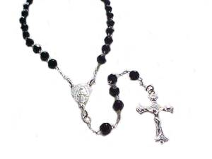 Rosary Necklace Silver and Black Beads 25 Inch