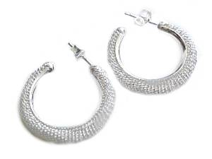 Mesh Hoop Earrings Sterling Silver