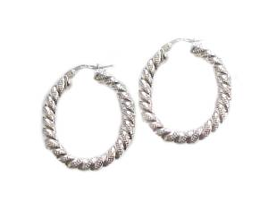 Silver Earrings Fancy Oval Hoops