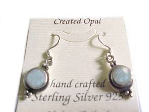 White Opal Earrings Sterling Silver