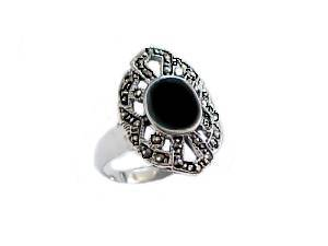 Black Onyx Plus Size Ring Marcasite
