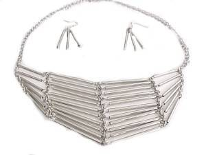 Fashion Jewelry Tube Necklace and Earrings Set