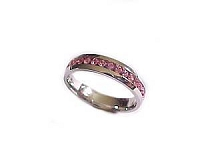 Plus Size Ring Pink Cz Steel