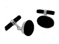 Sterling Silver Cuff Links Oval Black Onyx Toggle