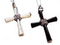 Mother of Pearl Marcasite Silver Cross