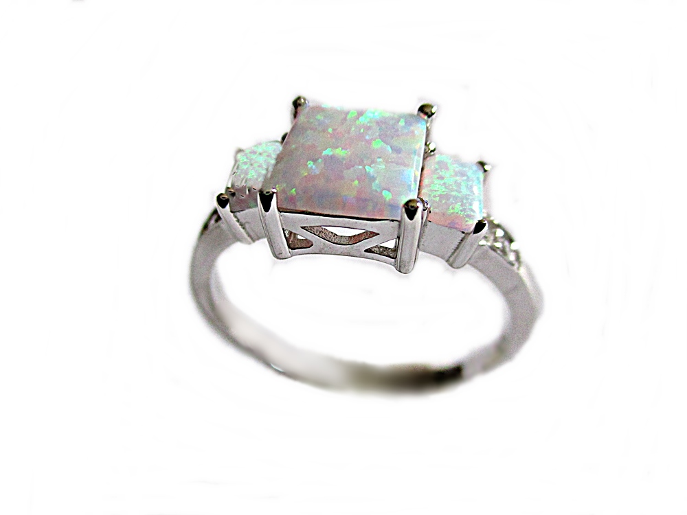 Large Size Ring White Triple Opal