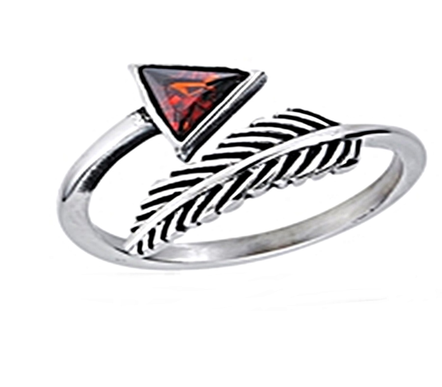 Red Triangle Silver Plus Size Ring