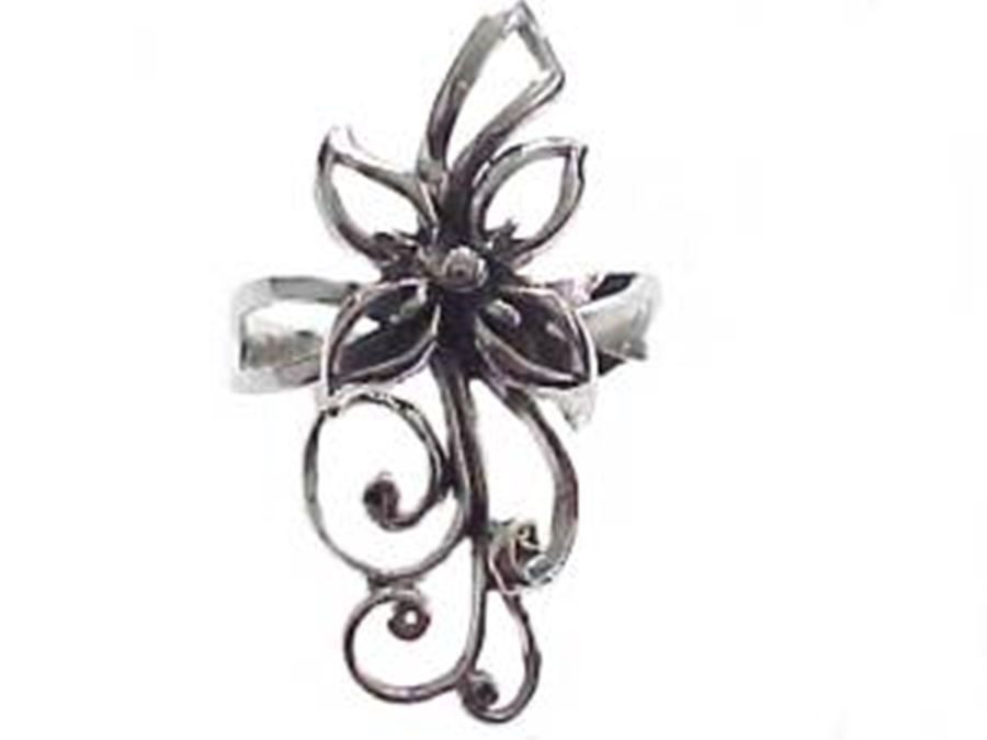 Large Flower Silver Plus Size Ring