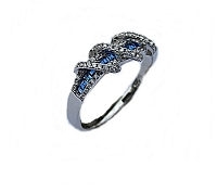 Blue Cz Fancy Silver Plus Size Ring