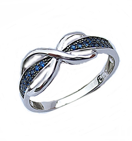 Blue Cz Infinity Plus Size Ring