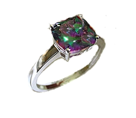 Rainbow Topaz Plus Size Ring